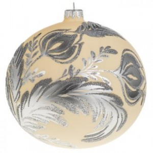 Christmas bauble, ivory and silver glass 15cm