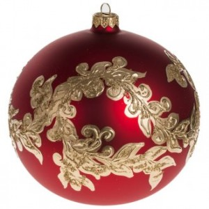 Christmas bauble, red blown glass and gold decorations 15cm