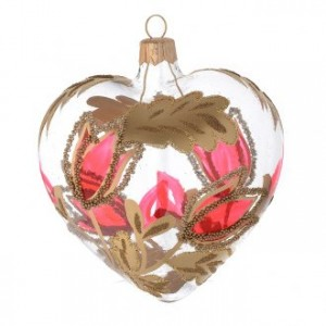 Heart Shaped Bauble in blown glass with red and gold decoration in relief 100mm