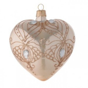 Heart Shaped Bauble in gold blown glass with gold tree decoration 100mm