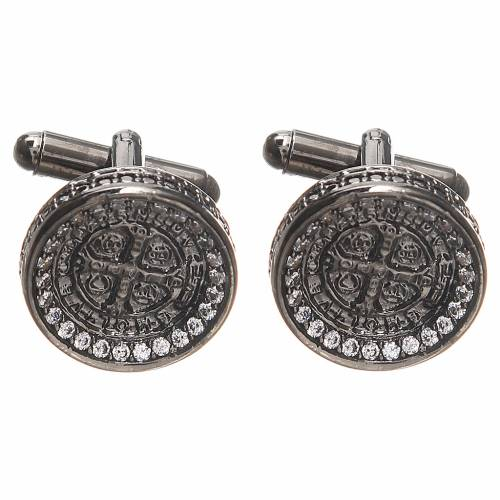 Cufflinks with St Benedict cross in 800 silver