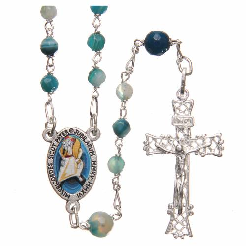 Rosary beads in Brazilian agate and sterling silver with Pope Francis