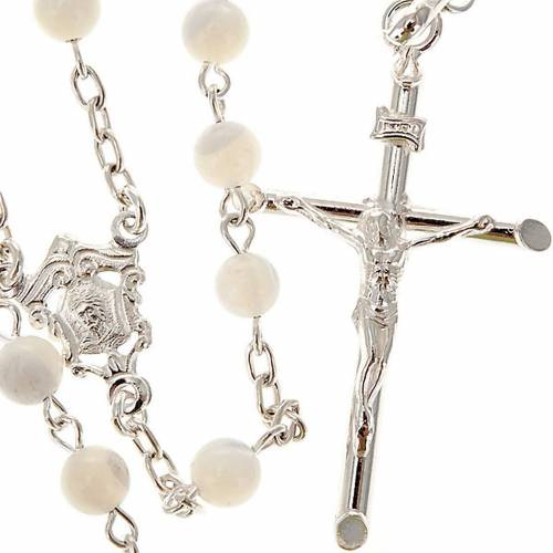 Silver Rosary Round Nacre Bead