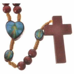 Rosary with Merciful Jesus in wood