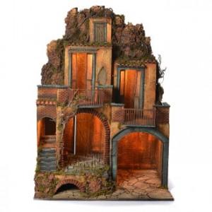 Neapolitan Nativity village with grotto 110x80x60cm