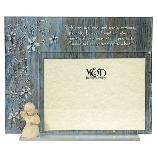 Photo frame with wooden angel and prayer