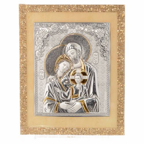 Picture of the Holy Family in Swarovski Gold and Silver