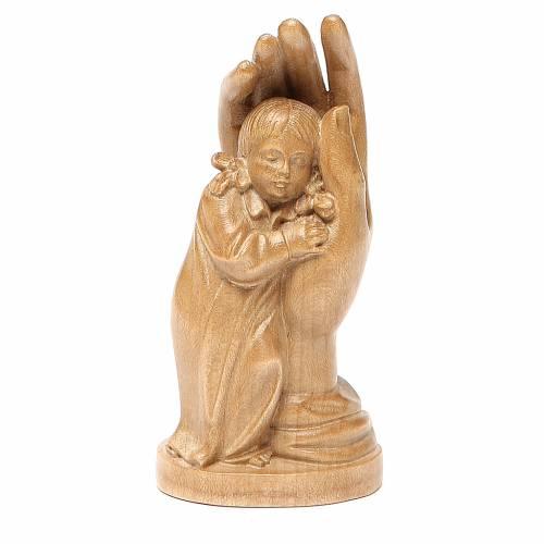 Protective hand with Valgardena wooden baby girl