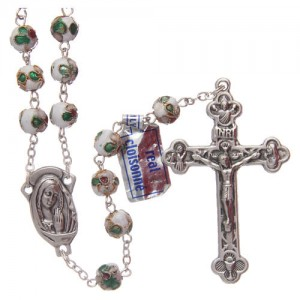Round white cloisonné rosary 7 mm