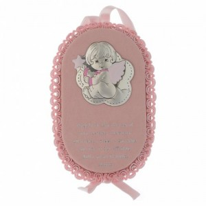 crib medal pink with prayer