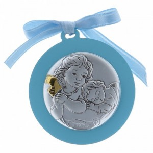 crib medal with angels laminated
