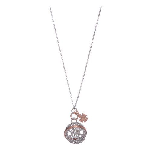 necklace amen calls angels arg 925 rhodium and roses with white cubic zirconia