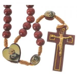 Rosary with Padre Pio and Merciful Jesus in wood
