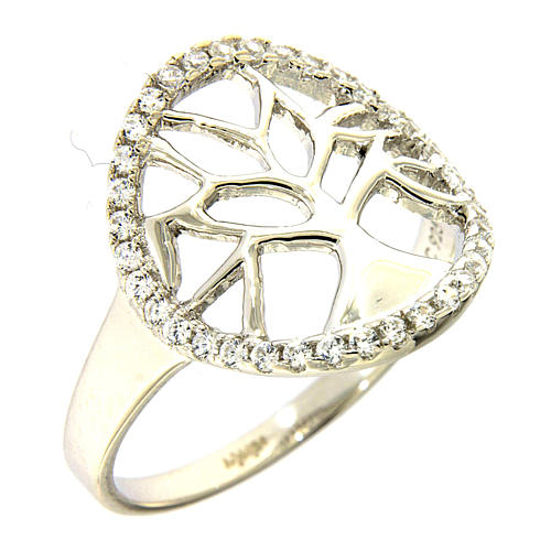 AMEN 925 sterling silver ring finished in rhodium with zirconate circle and tree