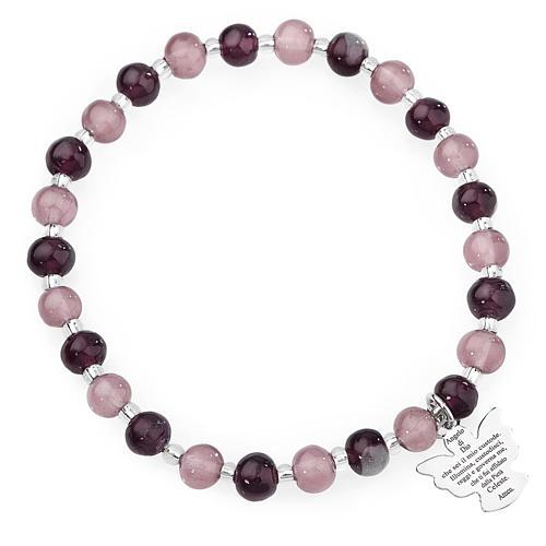 Amen bracelet in purple Murano beads 6mm, sterling silver