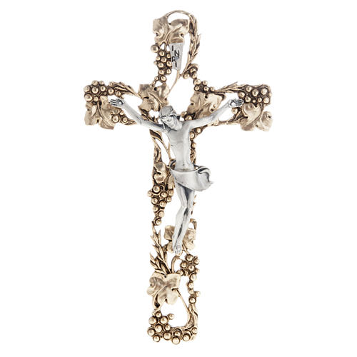 Crucifix, gold-plated with grape branches 24cm