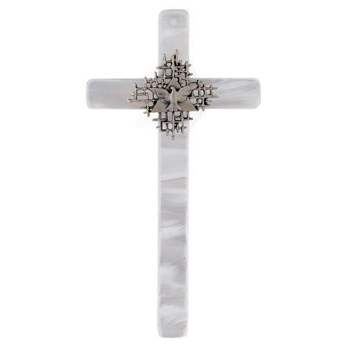 Holy Spirit cross in mother of pearl imitation