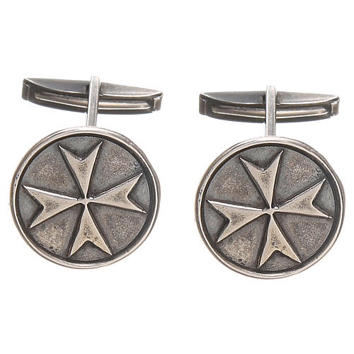 Maltese Cross Cufflinks, burnished 925 Silver
