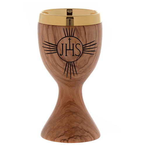 Olive wood chalice engraved IHS