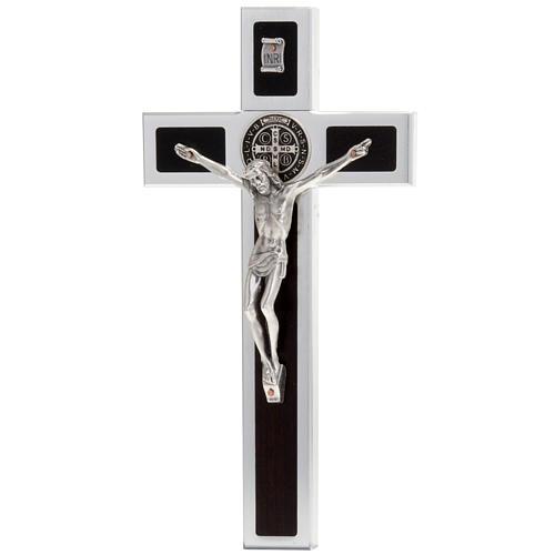 Saint Benedict cross with wood inlays 40x20