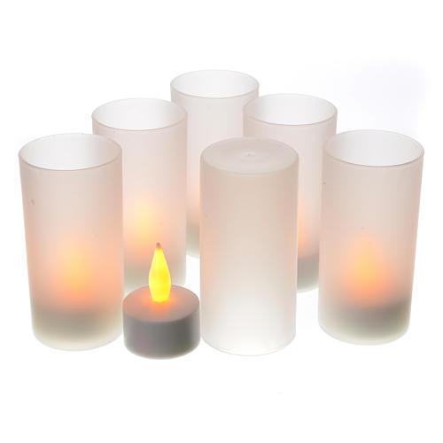 Tea light votive candles, rechargeable LED light, 6 pcs