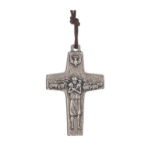 Necklace with cross of Pope Francis in metal, 4x2,6cm