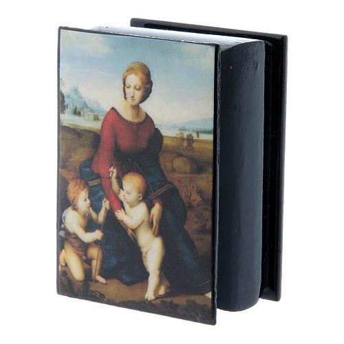 Russian papier-mâché and lacquer box Madonna del Prato 7x5 cm
