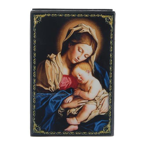 Russian papier-mâché and lacquer box Madonna with Child 9x6 cm