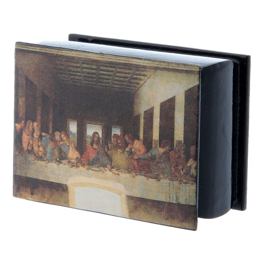 Russian papier-mâché and lacquer box The Last Supper 7x5 cm
